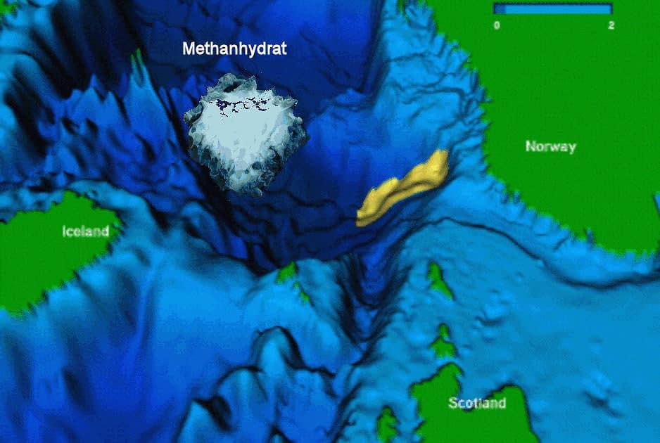 in Eis gefangen gehaltene Methanmoleküle