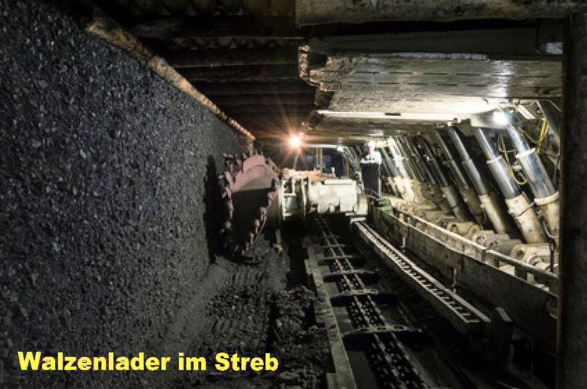 Underground mine excavator facing coal wall .