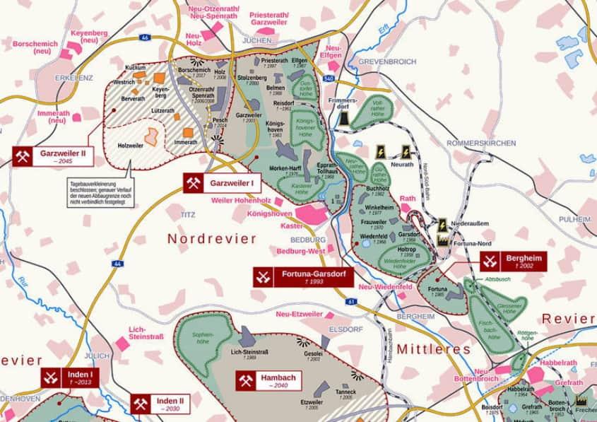 Karte Tagebau Garzweiler 1 und 2