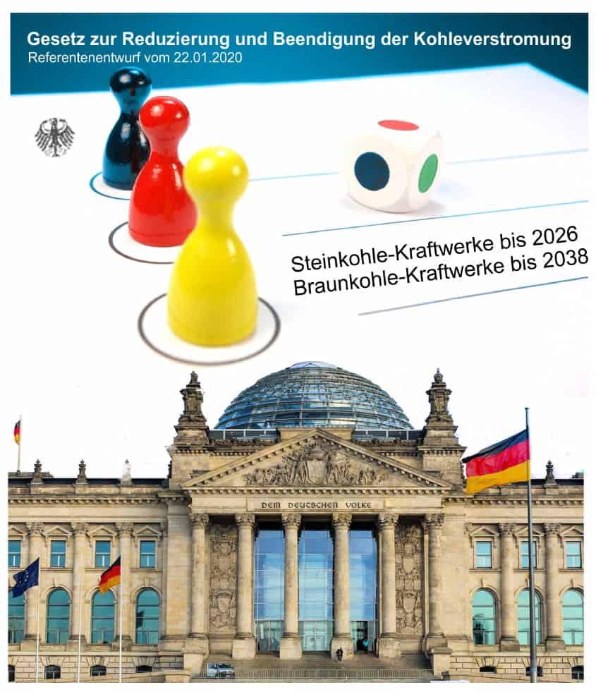 illustration deutscher reichstag und mensch-ärgere-dich-nicht-hütchen