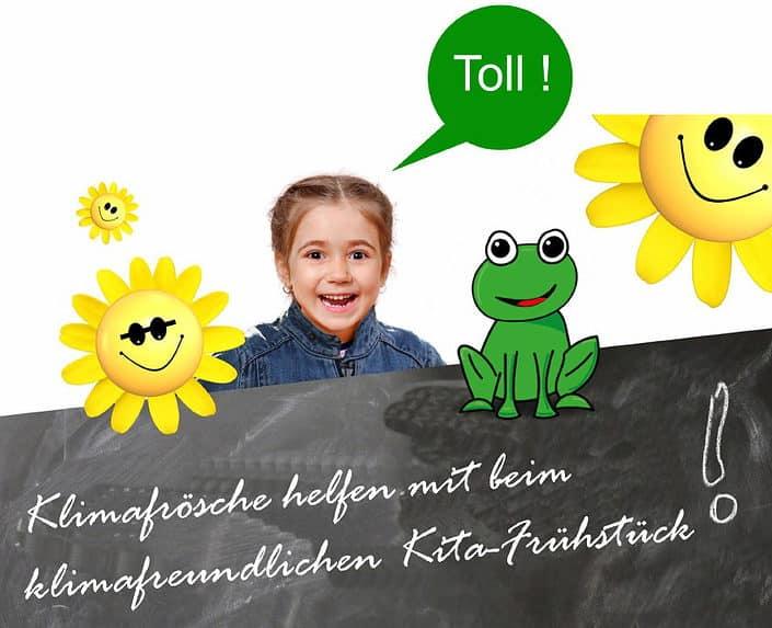 kita-kind mit frosch und gelben smiles. revierkohle-grafik