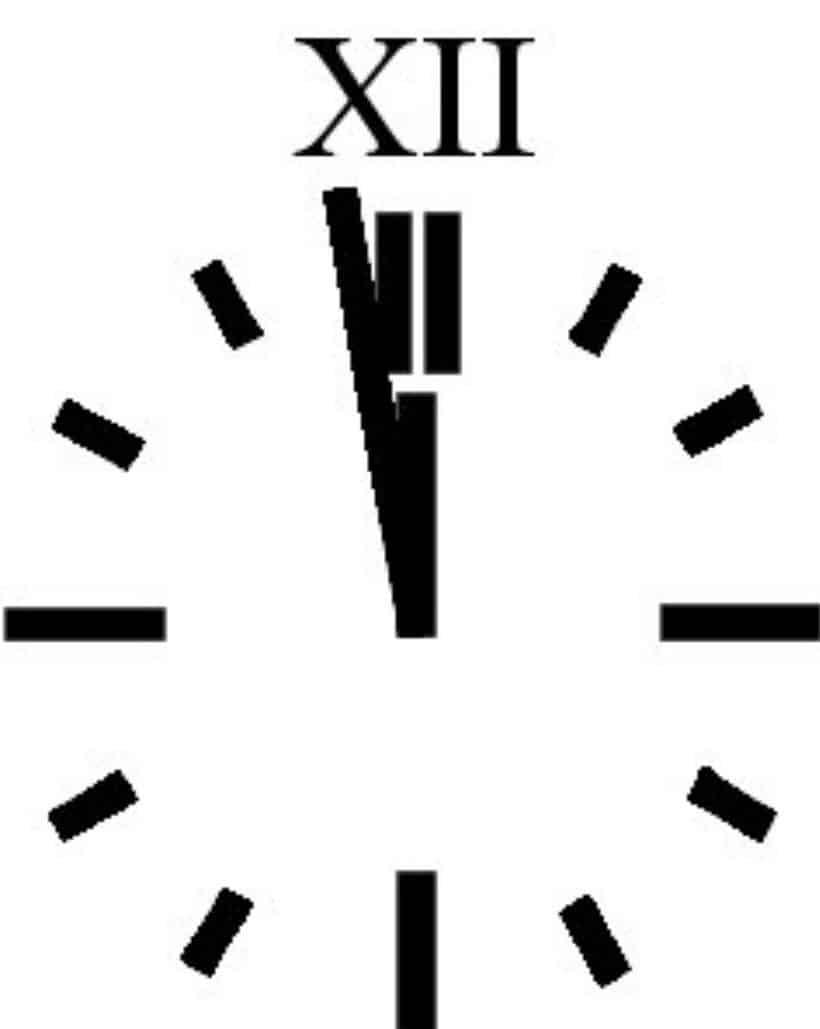 Uhrzeiger fünf vor Zwölf