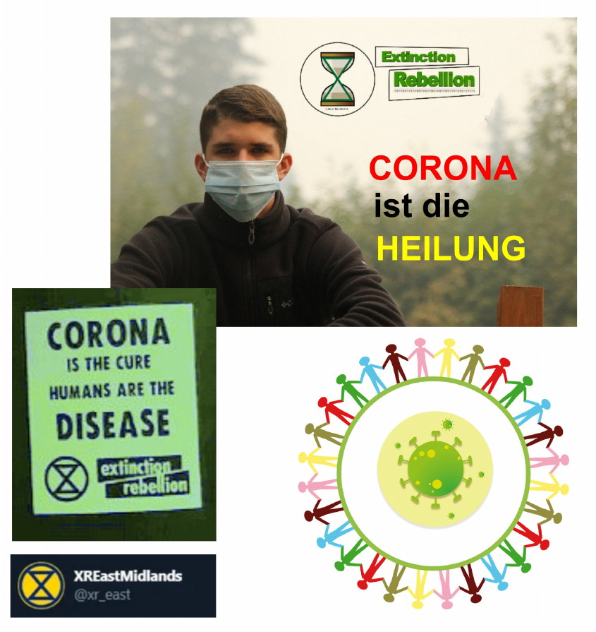 Corona ist die Heilung sagt Extinction Rebellion