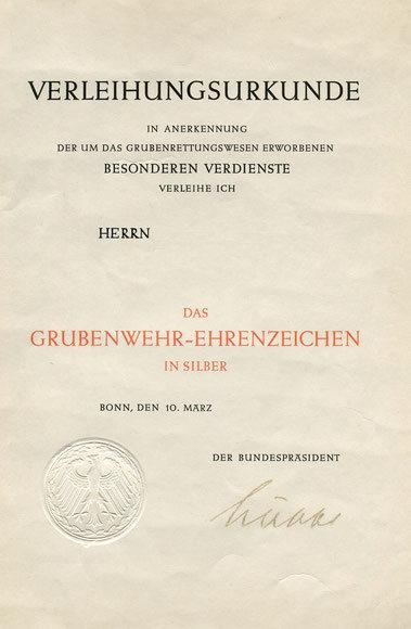 Verleihungsurkunde Grubenwehr des Bundespräsidenten